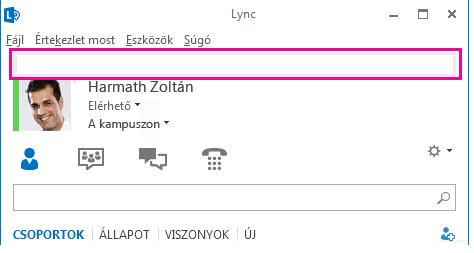 A Lync-főablak felső részének képernyőképe a személyes megjegyzésmező kiemelésével