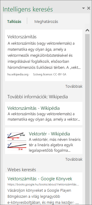 A Háttérismeretek ablaktábla a Windows Excel 2016-ban