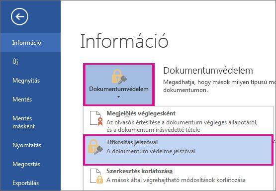 A dokumentum védelme jelszóval