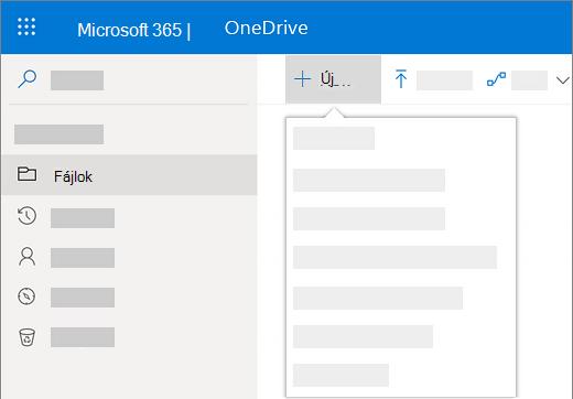 Képernyőkép az Új menü kiválasztásáról egy új dokumentum létrehozásához a OneDrive Vállalati verzióban