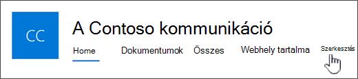 A kommunikációs webhely felső menüje