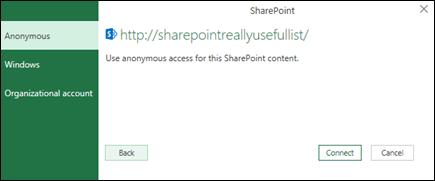 Az Excel Power Query csatlakoztatása egy Sharepoint-lista Csatlakozás párbeszédpanel