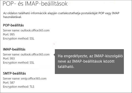 A POP- és IMAP-hozzáférés beállításainak hivatkozása
