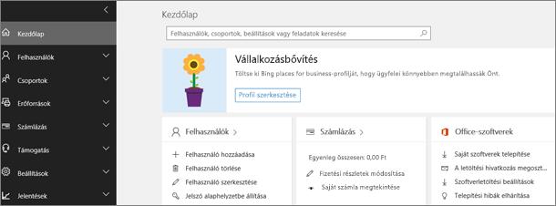 Office 365 Felügyeleti központ