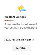 Az ingyenes kipróbálásra, illetve fizetés ellenében elérhető Weather Outlook bővítmény képe.