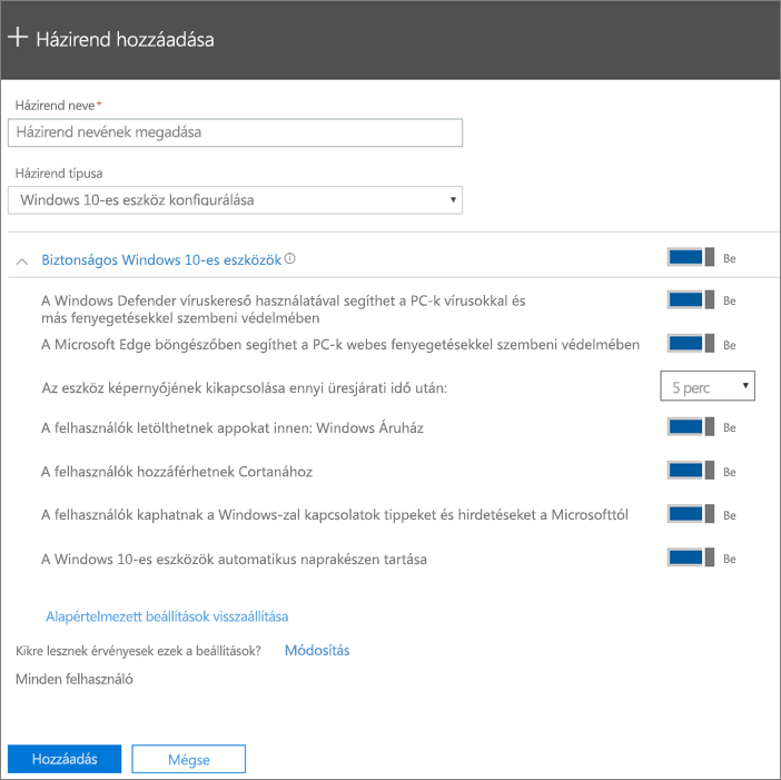 A Házirend felvétele ablaktábla kijelölt Windows 10-es eszköz konfigurálása beállítással