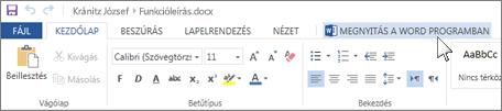 A teljes szolgáltatáskészletű Office-alkalmazás megnyitása az Office Online helyett