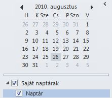 A Dátumválasztó a naptár-navigációs ablakban
