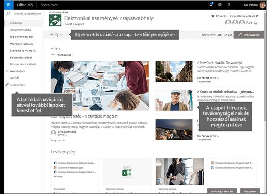 A SharePoint Online-csoportwebhely kezdőlap lapjának