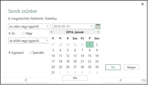 A Dátum értékek beírásának támogatása az Excel Power BI Sorok szűrése és Feltételes oszlopok párbeszédpaneljén