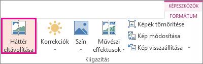 A Képeszközök eszközcsoport Formátum lapjának Kiigazítás csoportjában található Háttér eltávolítása gomb