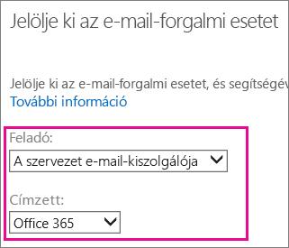 Válassza a céges e-mail-kiszolgálóról az Office 365-re lehetőséget