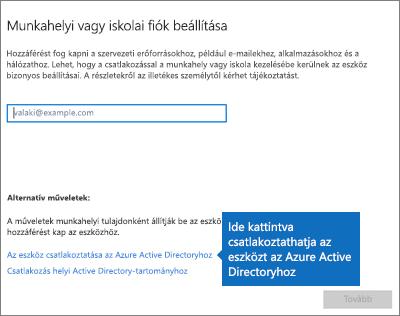 Kattintás Az eszköz csatlakoztatása az Azure Active Directoryhoz elemre