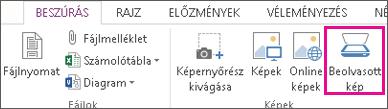 Az Office 2013 Beszúrás > Beolvasott kép parancsa