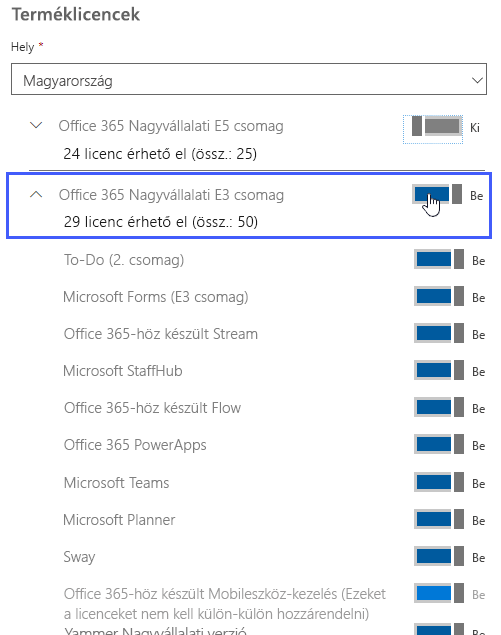 A Terméklicencek ablaktáblában látható, hogy a felhasználó milyen licencekkel rendelkezik.