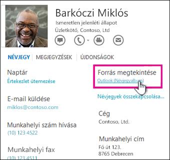 Az Outlook Forrás megtekintése csoportja a névjegyen