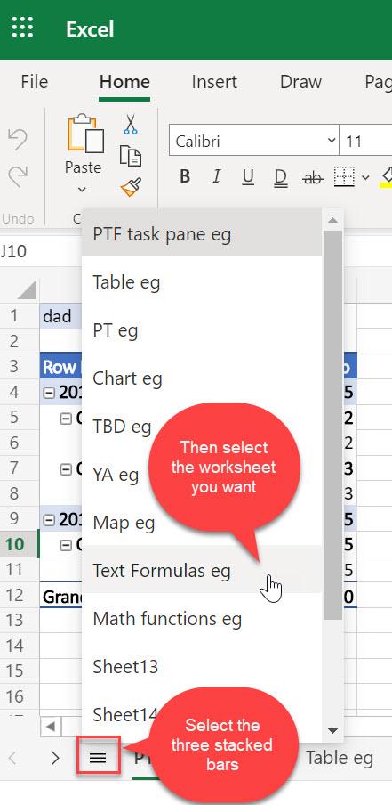 A webes Excel minden munkalap menüje