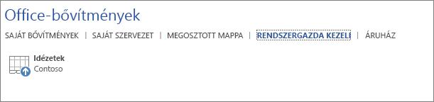 Képernyőkép egy Office-alkalmazás Office-bővítmények lapjának Rendszergazda által kezelt appok lapjáról. A lapon látható az Idézetek bővítmény.