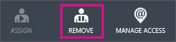Az Azure AD szolgáltatás Remove (Eltávolítás) gombja