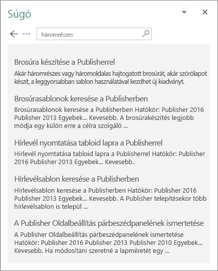 Képernyőkép a Publisher 2016 Súgó ablaktáblájáról, találatokkal