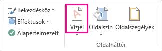 A Vízjel parancs a Word 2013-ban. A Tervezés lapon kattintson a Vízjel parancsra.