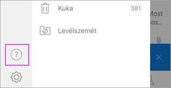 """Az Outlook for iOS menü, koppintson a """"?"""""""