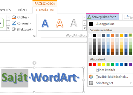 Szövegkitöltő színek gyűjteménye a Rajzeszközök Formátum lapján