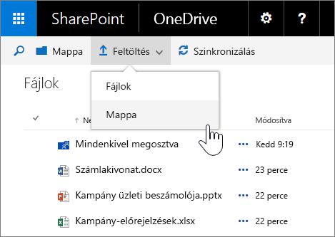 Képernyőkép mappa feltöltéséről az 1. funkciócsomaggal bővített SharePoint Server 2016 részét képező vállalati verziós OneDrive-ban