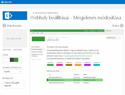 A betűtípus, a színek és az elrendezés módosítására szolgáló képernyő