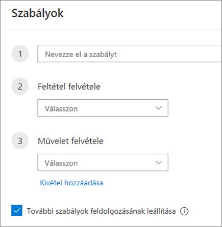 Új szabály létrehozása a Webes Outlookban