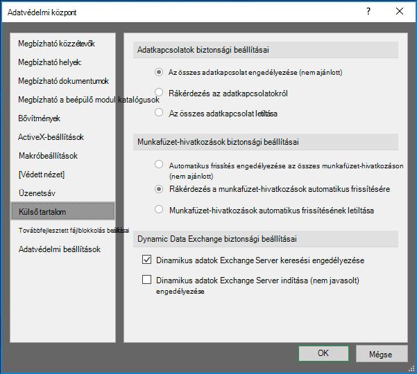 Az Excel az Adatvédelmi központban külső tartalom beállításai