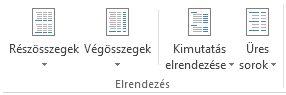Elrendezési beállítások a Tervezés lap Elrendezés csoportjában