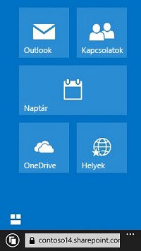 Webhelyek, tárak és levelezés gyors megnyitása az Office 365 navigációs csempéivel