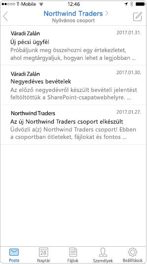 Az Outlook mobile alkalmazásban a beszélgetési nézet