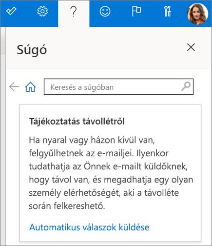 Súgó panel a Webes Outlookban