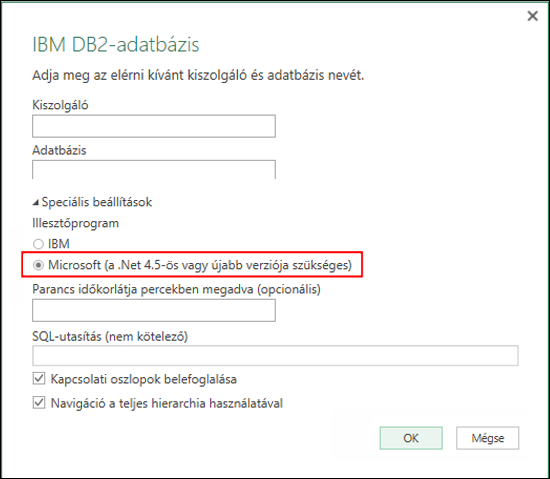 Az Excel Power BI IBM DB2-adatbázis csatlakoztatására szolgáló párbeszédpanelje