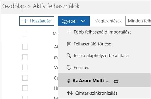 Az Aktív felhasználók lap Egyebek menüje és Az Azure Multi-Factor Authentication beállítása lehetőség kijelölve.