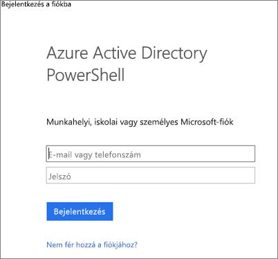 Adja meg az Azure Active Directory rendszergazdai hitelesítő adatokat