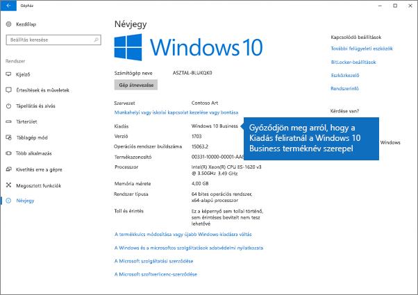 Ellenőrizze, hogy a Windows kiadása Windows 10 Business-e.