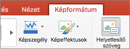 A Helyettesítő szöveg gomb a Mac PowerPoint menüszalagján
