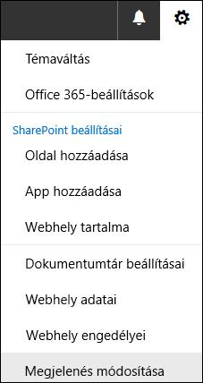 A SharePoint Megjelenés módosítása menüpontjának képe.