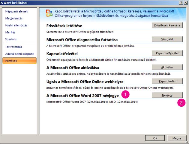 A Word 2007 Erőforrások ablaka A Word beállításai csoportban