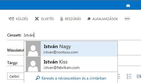 Outlook Web App – Automatikus kiegészítési lista