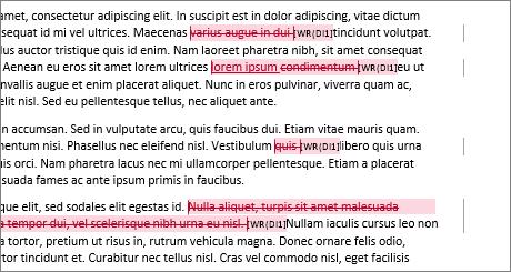 Fő kép a szövegben látható változatokról a Wordben