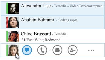 Cuplikan layar dengan kontak dan status mereka ditampilkan dan ikon IM disoroti.