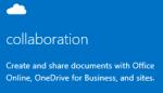 Cuplikan layar panel memulai Admin untuk kolaborasi, termasuk OneDrive for Business, Office Web Apps, dan situs tim. Klik untuk membuka topik bantuan terkait.