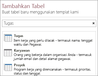 Kotak pencarian templat tabel ada di layar Selamat Datang Access.