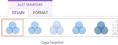Di bawah alat smartart , pada tab desain , di dalam grup gaya smartart