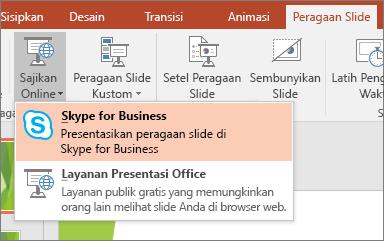 Memperlihatkan opsi untuk menyajikan secara online di PowerPoint