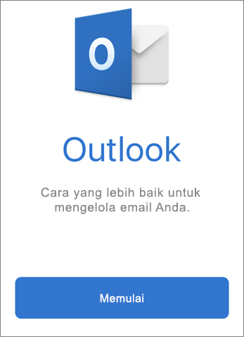 Cuplikan layar Outlook dengan tombol Mulai